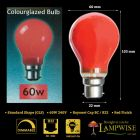 Crompton 60w BC B22 Red Coloured Gls Light Bulb
